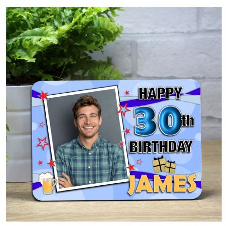 Personalised Happy Birthday Wood Photo Panel F12 - Any Age